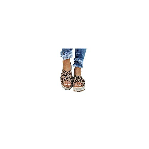 Sandalen Damen Sommer Espadrilles Pantoletten mit Plateausohle und Leoparden Print, Frauen Sommerschuhe Offener Zeh Outdoor Strand Sandaletten Bequeme Strandsandalen Gr.35-43 Celucke (Braun, 43 EU) Leopard Print Clogs