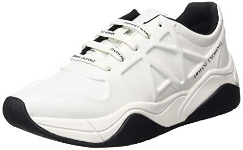 Armani Exchange Damen Embossed lace up Sneaker, Weiß (Op.White 00152), 41 EU