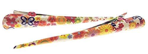 Femmes Filles 13 cm Paire de Concord Bec Daisy rétro Floral Pinces à cheveux rouges Crème