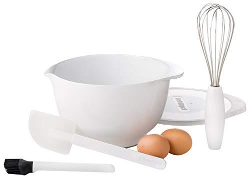 Rosti Mepal Margrethe Set à Pâtisserie: 5 Pièces : Bol de Préparation 3 L + Couvercle + Fouet + Pinceau de Cuisine + Spatule Blanc