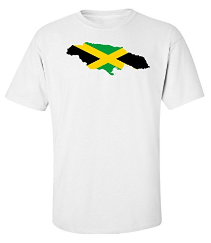 Flag map of Jamaica Men's T shirt XX-Large (Jamaica Mens Tee)