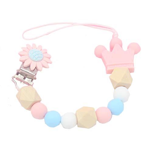 Uyuke catenella per ciuccio in silicone colorato con catena per ciuccio per la dentizione dei giocattoli da masticare