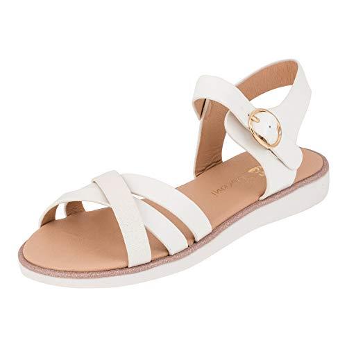 ndalen Sandaletten Kinder Schuhe in Glitzeroptik mit Schnalle M552ws Weiß 27 EU ()