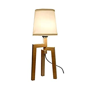 Table lamp Foldable Wooden Living Room Bedroom Study Home Bed Office Hotel Decoration Triangle Stable Base lampshade Eye E27 (Size: 19 * 51cm)