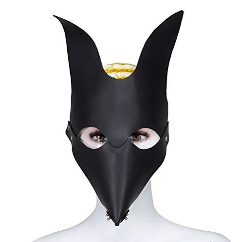 Diorerr Ledermaske Fehlende Augen Sack Mund Fuchsmaske Ledertraining Rollenspiel Alternatives Spielzeug Bondage-Maske