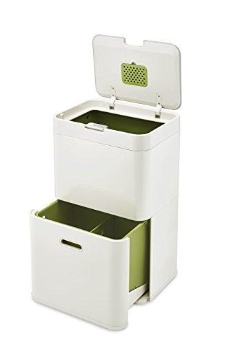 Joseph Joseph Totem 48 L - Cubo de basura, separación y reciclaje color Blanco Piedra (Stone)