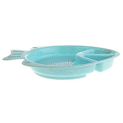 Baoblaze Assiette de Cuisine en Forme De Poisson Assiette Plates Durable - Bleu