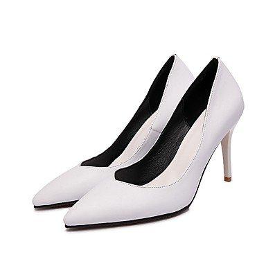 LFNLYX Talons pour femmes Printemps Eté Automne Hiver Autres articles en cuir de vachette et de carrière Robe de soirée et soirée Stiletto Heel Black White White