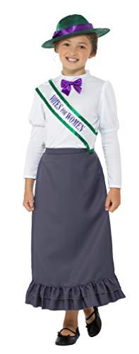 Suffragetten Kostüm - Smiffys SMIFFY 'S 49697l Viktorianischer Suffragetten Kostüm, grau, L-UK Alter 10-12Jahre
