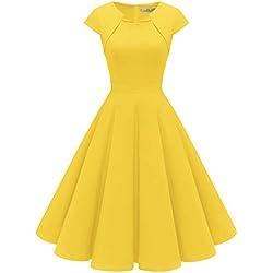 Homrain Robe Femme Vintage de Soirée Cocktail Cérémonie années 1950s Style Audrey Hepburn Yellow S