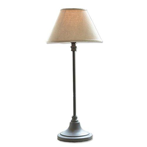 Loberon Tischlampe Swindon, Baumwolle, Eisen, H/Ø 48/20 cm, grau/beige, E14, max. 40 Watt, A++ bis E