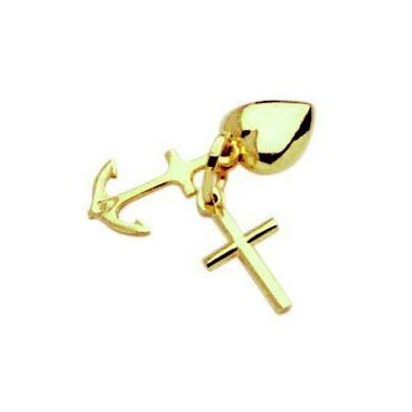 Glücks Charm Glaube & Liebe & Hoffnung Anhänger echt 14 Karat Gold 585 (Art.211002)