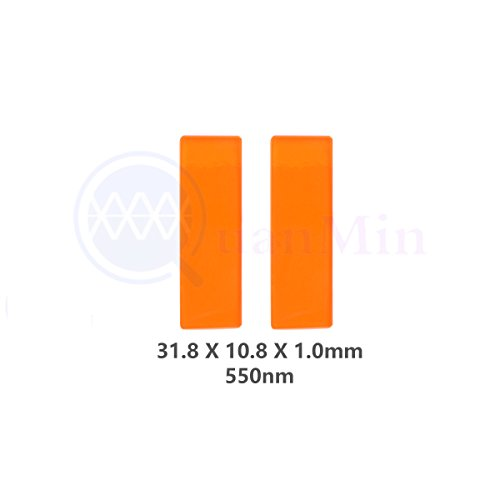 Laser-ir-filter (Quanmin 2pcs / 1 Lot 31.8mm × 10.8mm × 1.0mm 550nm LP Filter Square Optical Multilayer Color Longpass IR Filter for Medical Equipment Orange Filter)