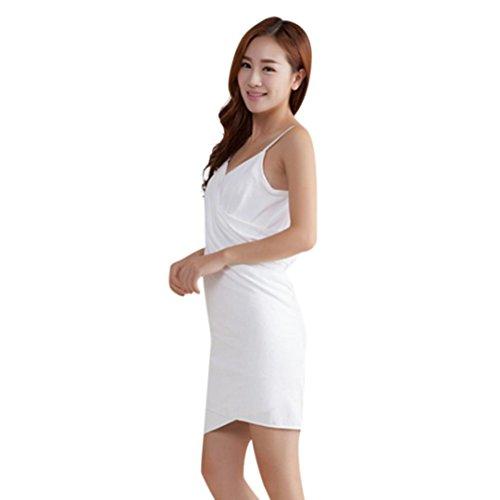 Magic Wrap Kleid (Frashing Badetuch, Wearable Handtuch Bad Spa Dusche Schwimmen Wrap Soft Magic Waschlappen Deep V Strand-Kleid Bademantel Handtuch (Weiß))