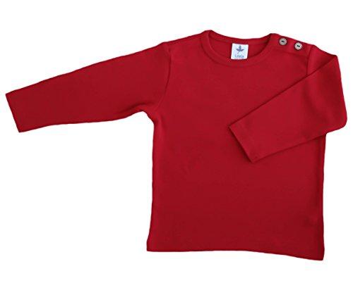 Baby Kinder Langarmshirt Bio-Baumwolle GOTS 13 Farben T-Shirt Shirt Jungen Mädchen Gr. 50/56 bis 140 (74-80, rot-zigel) -