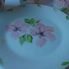 Set plato y taza esmaltados porcelana, decorados con flores, rojas.