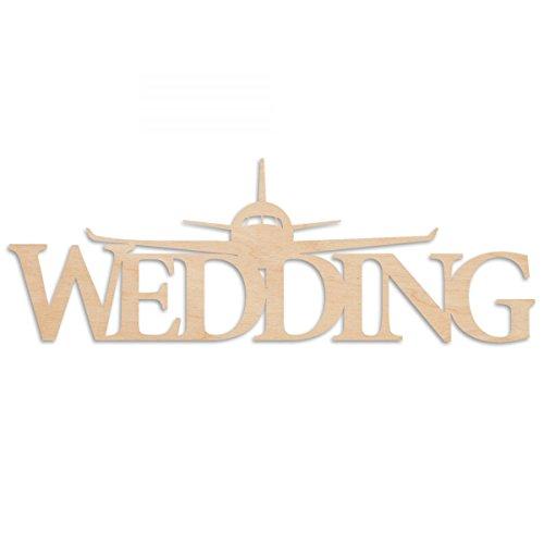 Großes Flugzeug Wedding Holzschild schönes Geschenk zur Hochzeit als Dekoration für den Braut & Bräutigam Tisch auch als Wanddeko prima geeignet