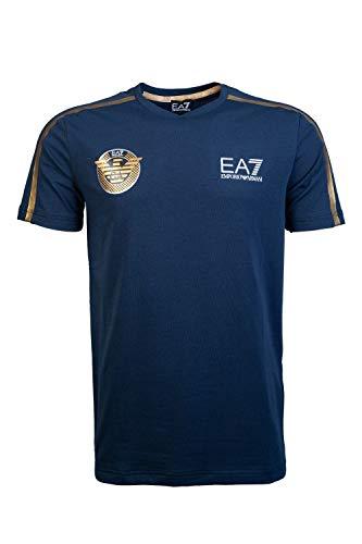 43cabef41a Empire Armani EA7 - Camiseta de Manga Corta con Logo Dorado, Color Azul  Marino 3GPT33 Azul Azul Marino M