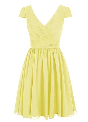 CoutureBridal® Robe simple en Chiffon Robe courte de soirée robe courante col en V Jaune