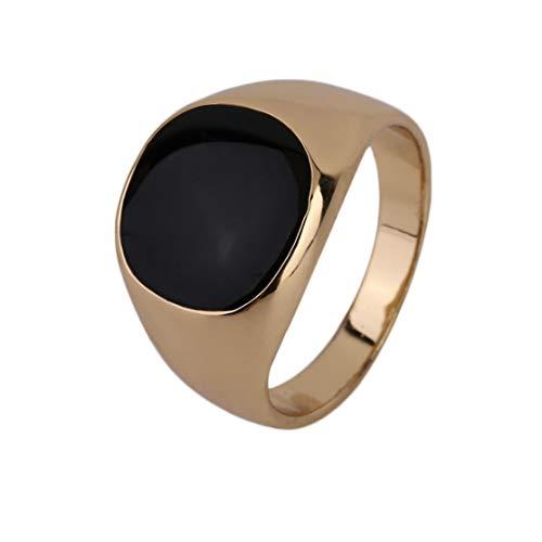 LouiseEvel215 Verblassen nie Edelstahl-Metall-Ring-18K Gold überzogen Schwarze Onyx-Stein-Verpflichtungs-Hochzeit RingElectroplating Polieren