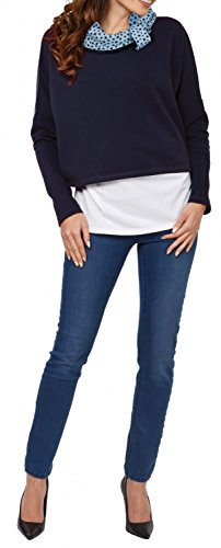 Happy Mama. Damen Sweatshirt Stillzeit Zweilagiges Stillen Top Rollkragen. 795p Marine