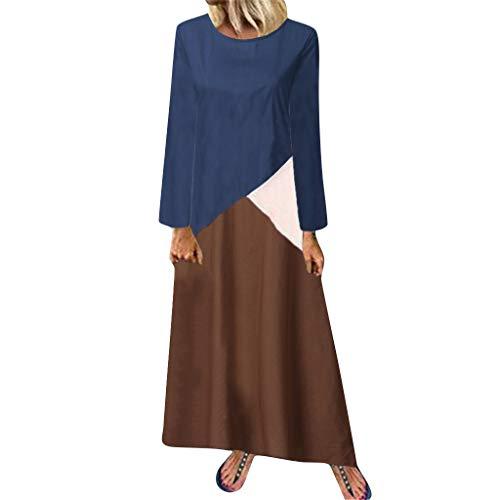 Zylione Damen Leinen Kleid Freizeitkleid Rundhals Lose Maxikleid Patchwork Beiläufige Kleid Asymmetrisches Vintage Lang Bluse Unregelmäßige Saum Ethnisch Kleider Mischfarben Lange Kleid Leinen Shirt