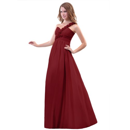 Sunvary A una Line-spalla in Chiffon Prom Gowns, sera, varie taglie Burgundy