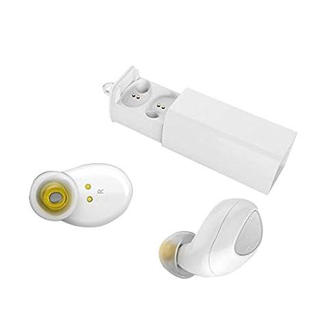 kingko® Winzige Mini Bluetooth Kopfhörer Wireless Sport Earbuds Zwillinge Stereo In-Ear Headsets mit Lade Dock (Weiß)