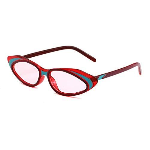 HQMGLASSES 2019 Frauen Vintage Retro kleinen Rahmen Designer cat Eye Sonnenbrille promi Shades Brillen bühne laufsteg Maskerade dekorative glassesuv400,RedFrame/PinkLens