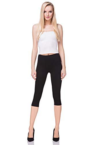 FUTURO FASHION - Leggings mit 3/4-Länge - Baumwolle - extra bequem - Übergrößen - Schwarz - 42 (XL) (Plus Size Damen Kompression Hose)