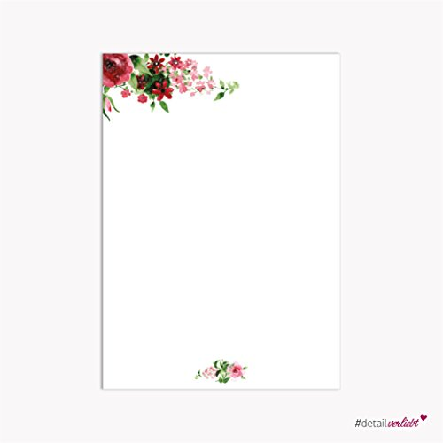 writing-paper-romantic-rose-dv-017-a4-size-50-sheets-colour-red-pink-green-light-green-dark-green-fl