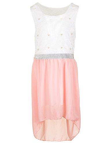 Fashionteam24 Festliches Mädchen Sommer Kleid Perlen Hochzeit Blumenmädchen Kommunion Freizeit M432rs Rosa 20/176