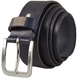 DOS EN UNO VALERIO Cintur/ón Casual Formal Reversible en Marr/ón y Negro para Hombres de Genuino Completo Cuero Natural con Hebilla Giratoria