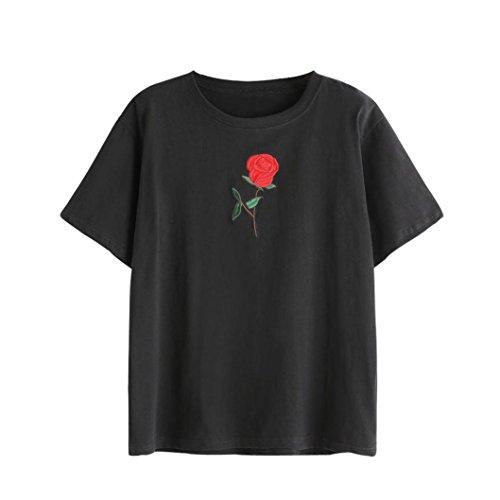 TUDUZ Tops Damen T-Shirt mit Rose Stickerein Kurzarm O-Ausschnitt Sommer Oberteile Shirt Bluse Tank Top Crop Tops (S, Schwarz-A)