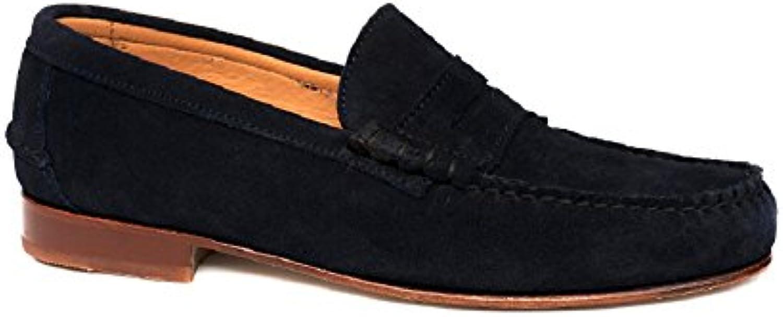 Castellano Año 1920 Modelo 1900, Zapato Hombre Ante Marino Antifaz, Suela de Cuero.