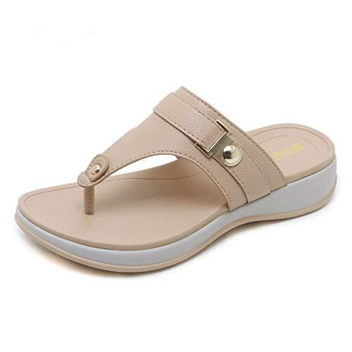 WANG XIN Casual Frauen Sandalen Hausschuhe Metall Keil Große Größe Komfortable Weiche Bottom Toe Strandschuhe (Farbe : Aprikose, größe : 41 EU) -
