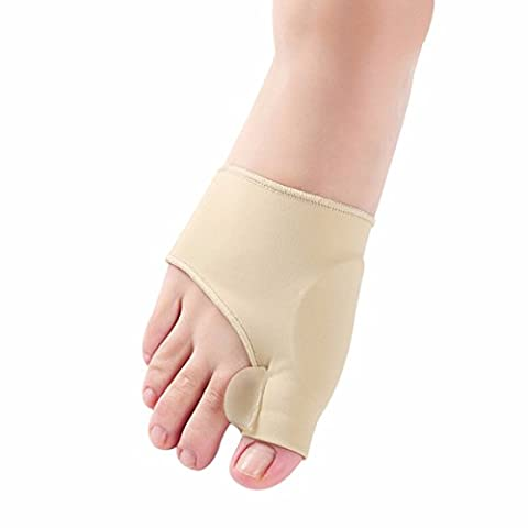 FEESHOW 1Pair Gel Bunion Sleeve Toe Straightener Corrector Bunion Protector Pad with Gel Toe