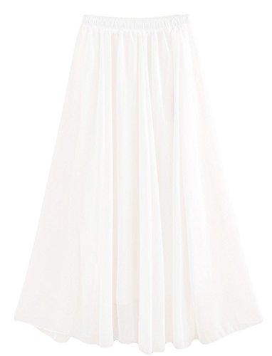 CoutureBridal® Damen Maxirock Sommerrock Chiffon Rock Normallack Langrock 12 Farben Weiß