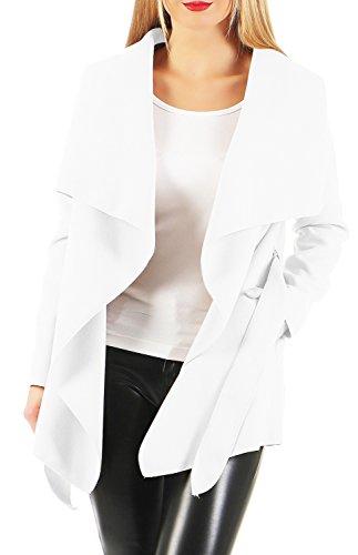Damen kurz Mantel Trenchcoat mit Taschen ( 541 ) (M / 38, Weiß)