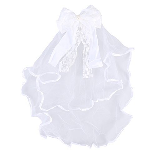 LUOEM Velo de Novia con Lazo de Encaje con Peine Disfraz de Novia Princesa para Niños (Blanco)