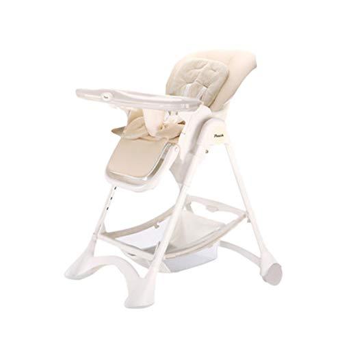 NROCF Baby Esszimmerstuhl Mit Aufbewahrungstasche, Multifunktionaler Faltbarer Stabiler Tragbarer Esstisch, Umweltfreundlicher Kinderhochstuhl Aus Leder,White