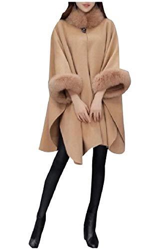 Andopa Damen lockere faux wolle-hoch niedrige rand lange overcoat jacken pea coat L Kamel (Coat Pea Damen Wolle Camel)