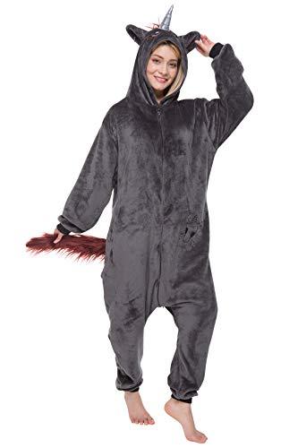 corimori 1852 Damen Herren Onesie Jumpsuit Anzug Einteiler Kostüm Verkleidung Gr, Ruby das Einhorn (Schwarz), Körpergröße 180-190cm (Die Frau Für Halloween-kostüm Einfache)