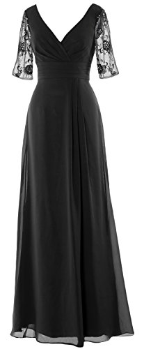 MACloth Women Half Sleeves Long Mother of the Bride Dress V Neck Formal Gown Schwarz