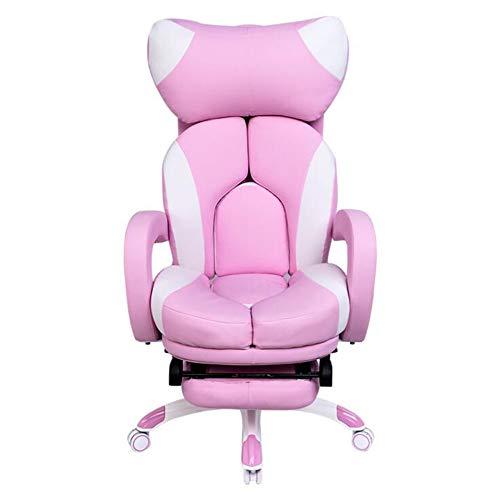 Sexykey KY Spiel Stuhl Ergonomische High Back Racing Stuhl Pu Ledersitz, Computer Drehstuhl Bürostuhl Weiche Executive Tisch und Stuhl mit Fußschemel (Pink)