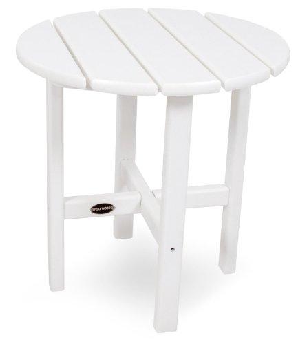 Polywood rst18wh rund 45,7cm Beistelltisch, weiß - Outdoor Bar Patio Furniture
