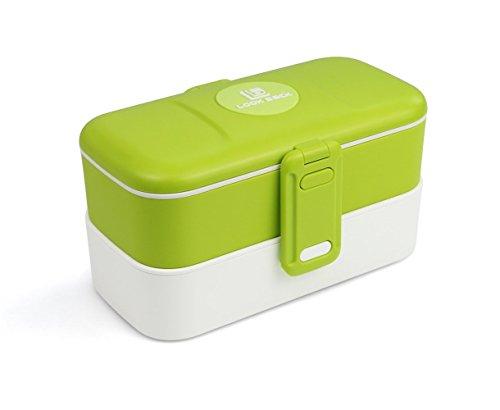 Lunchbox - mit zwei Fächern, Bento Box, Brotdose, mit Unterteilung, mit Besteck aus Edelstahl - Grün