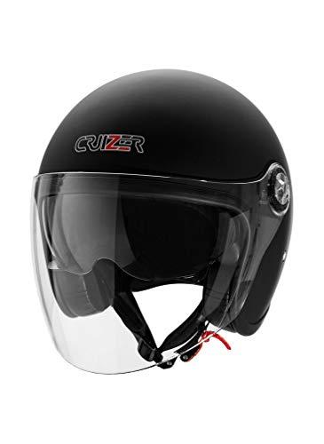 CRUIZER - Casco omologato nero opaco per scooter moto Demi Jet con doppia visiera, chiusura con cinturino e interni antibatterici ed anallergici (L)