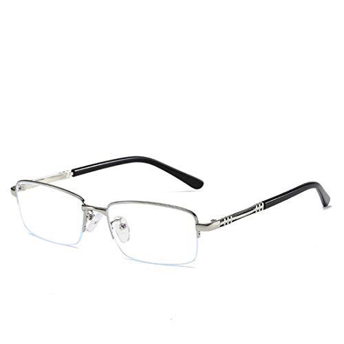 Jakiload Anti-Blaue Gläser der Geschäftsmänner und der Frauen metallieren halbe Rahmengläser, die Blaue Lichtgläser Antillen (Color : Silver)