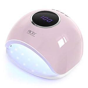 Abody Secador de Uñas 48W Lámpara Uñas UV Lámpara de Luz LED para Manicura y Pedicura con 4 Temporizadores, Sensor Automático, Pantalla LCD, Rosa